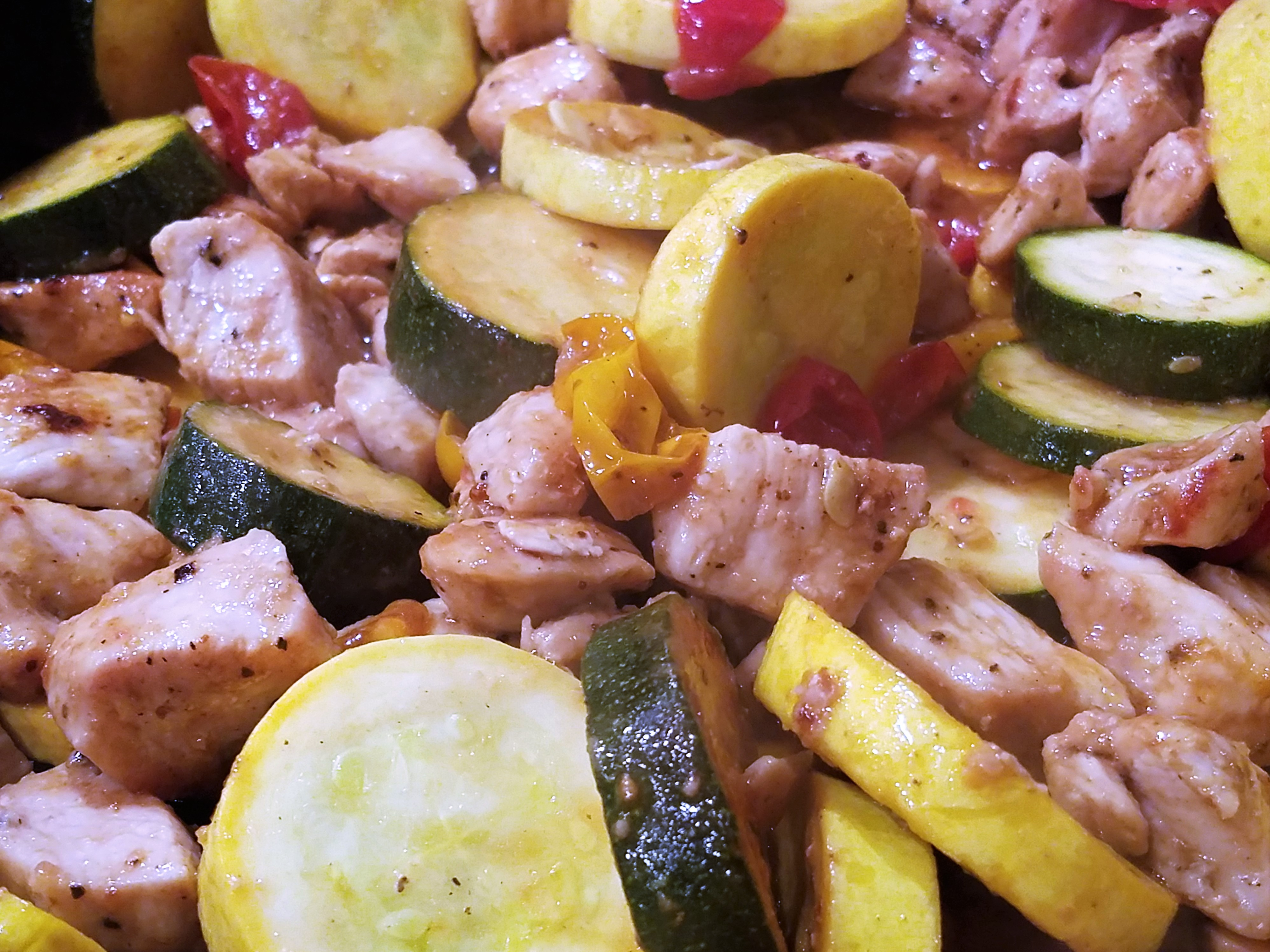 Easy Balsamic Chicken Recipe with winter squash & zucchini - One Skillet - Under 30 minutes - Family meal
