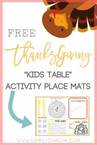 Free Printable Thanksgiving Activity mats for Kids