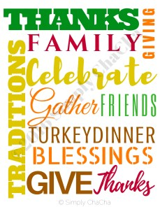 Thanksgiving Frameable word art SIMPLYCHACHA