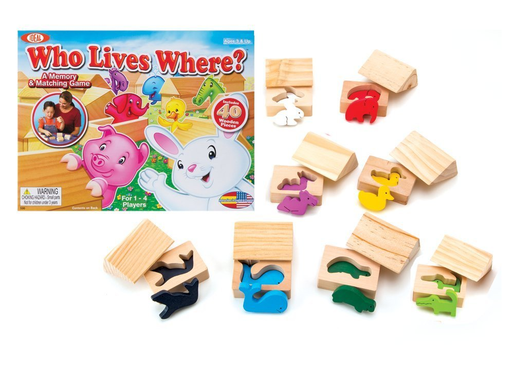 HOLIDAY GIFT GUIDE 2016 STEM TOYS FOR TODDLERS : Ideal Who Lives Where Wooden Memory and Matching Game