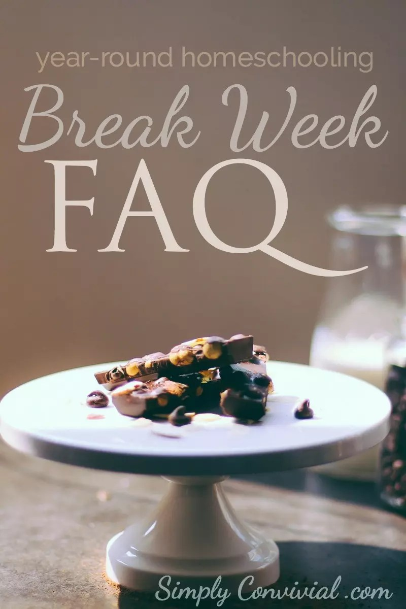 How we make our break week work in our year-round homeschooling schedule. Plus, answers to your homeschool break week questions!