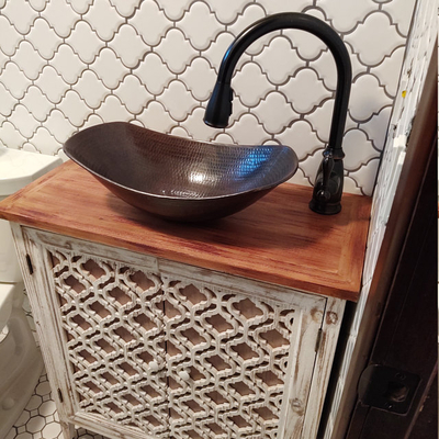 17 rustic copper oval vessel bathroom sink