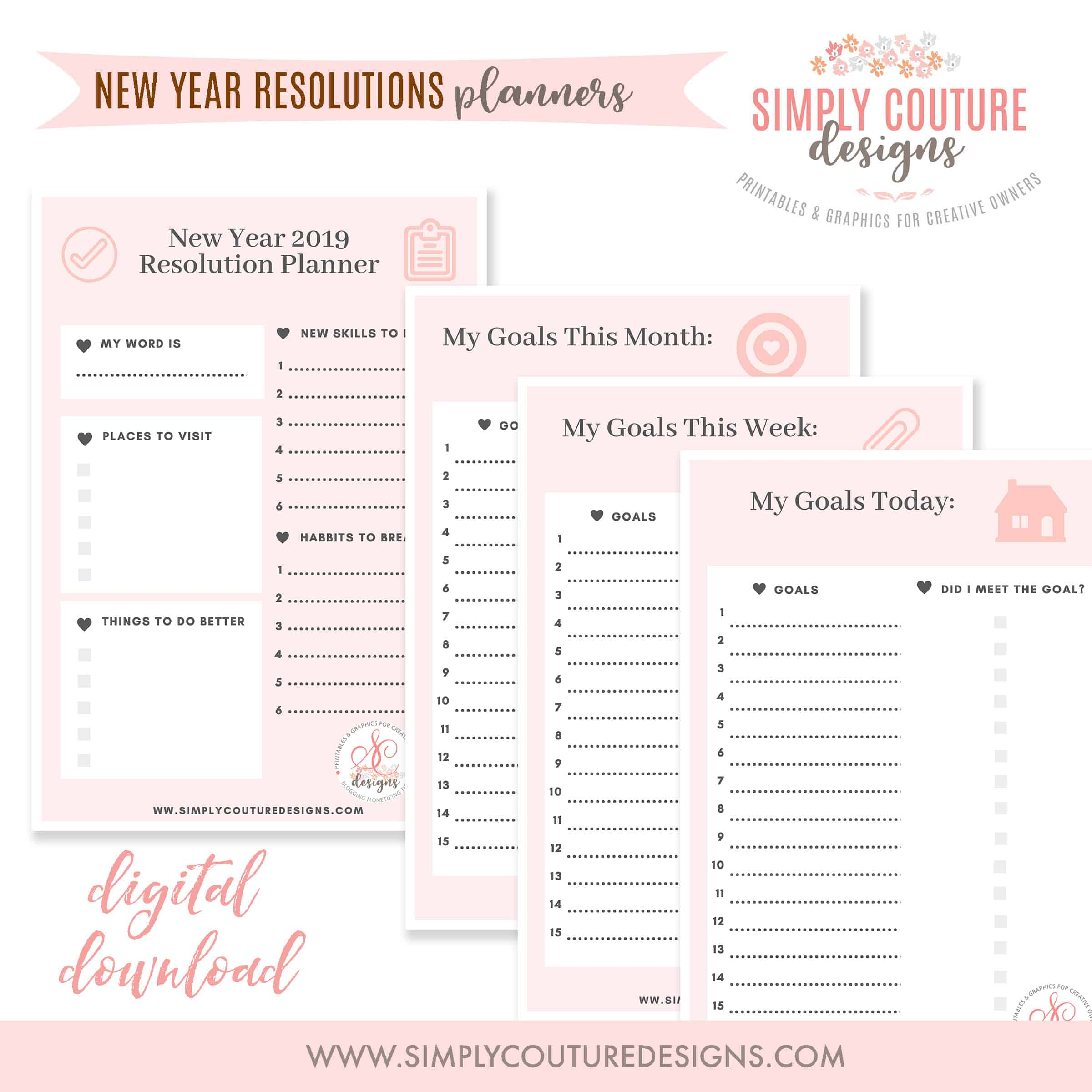 photograph regarding Daily Goals Checklist identified as Free of charge Refreshing Many years Resolutions Printable - Conveniently Couture Models