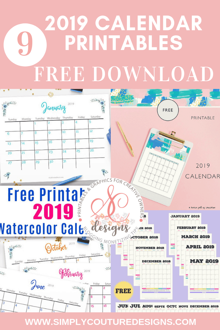 Free Printable 2019 Calendar With Holidays Simply Couture Designs