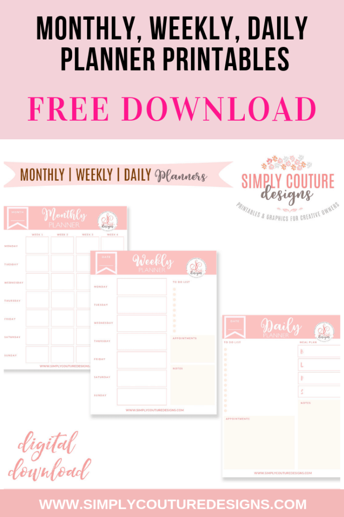 Monthly, weekly and daily productivity and organization journal planner free printables #monthlyplannerprintable #weeklyplannerprintable #dailyplannerprintable #freeplannerprintable