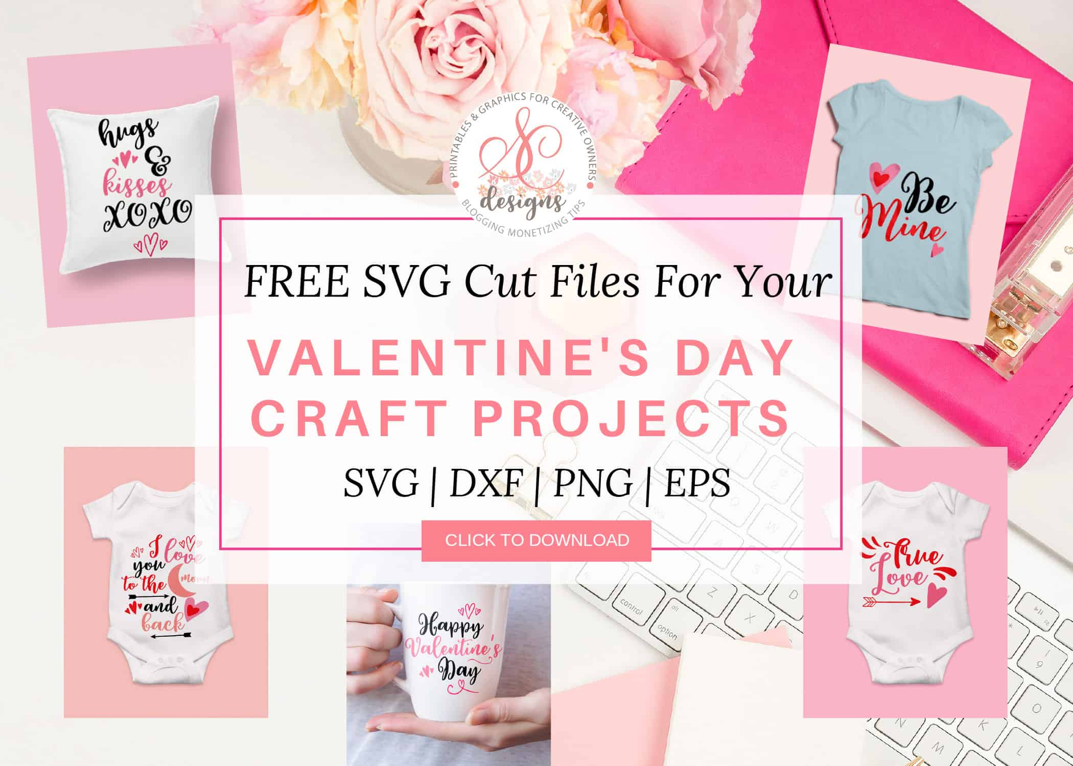 Free Valentine's SVG Cut Files. Use these lovely SVG Cut Files for your Valentine's craft projects. Make t-shirt, coffee mug, baby onesie, printables, pillow cover and more with these craft files using your Cricut and silhouette cutting machines. #freevalentinesvgcutfiles #freesvgcutfiles #freesvg #freevalentinesdaycraftfiles