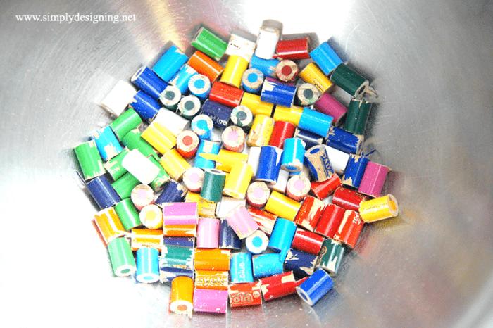 cut colored pencils