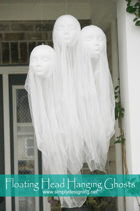 Floating Head Hanging Ghosts #halloween #crafts #fall