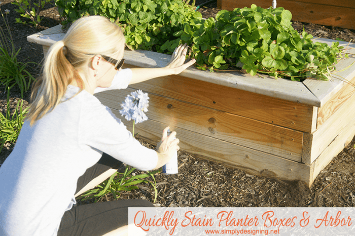 Stain planter boxes in about 5 minutes! - #stain #staining #diy #exterior