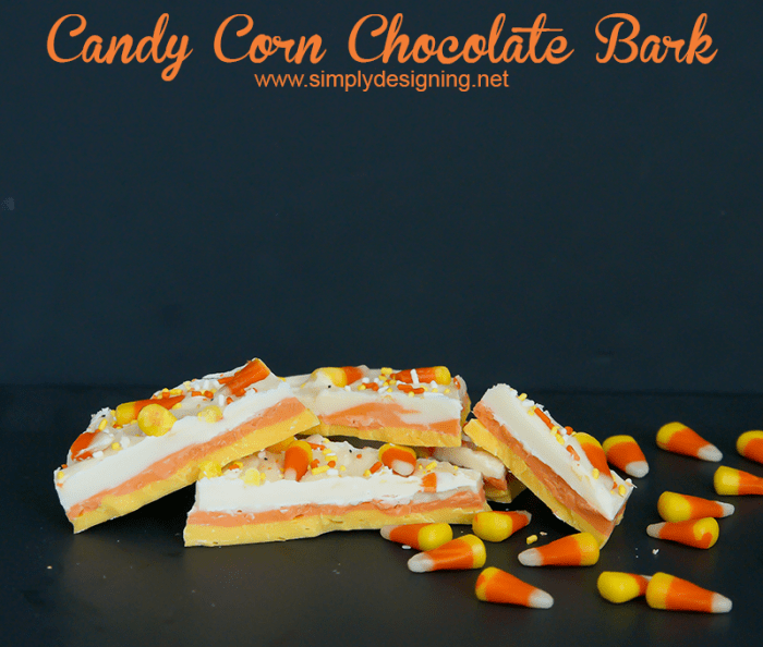 Candy Corn Chocolate Bark #halloween #recipes #fall