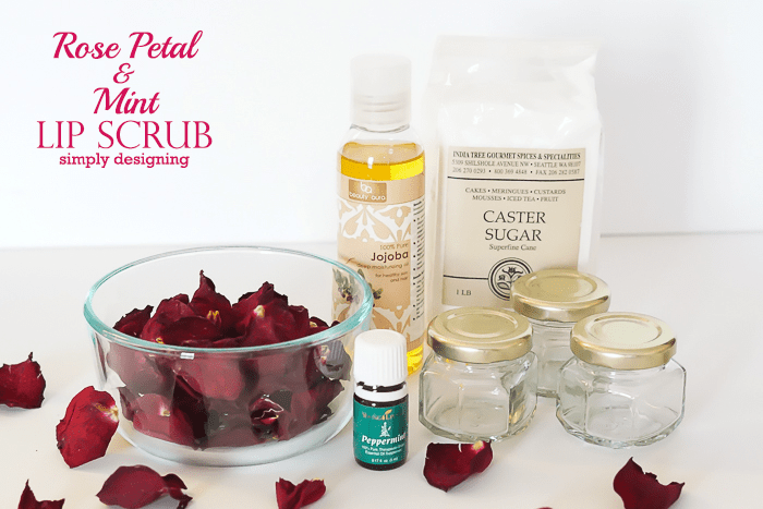 Ingredients for Rose Mint Lip Scrub