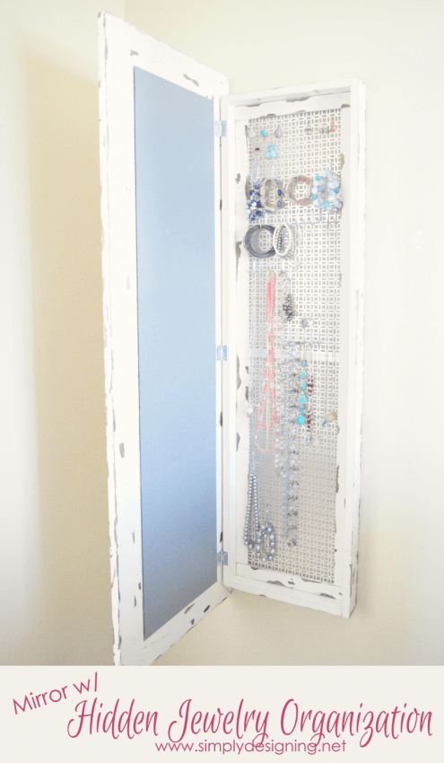 Framed Mirror with Hidden Jewelry Organization
