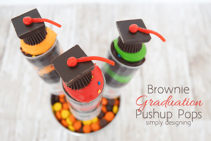 Brownie Graduation Pushup Pops with Candy Grad Hat