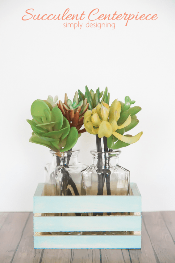 Succulent Centerpiece in painted wooden crate