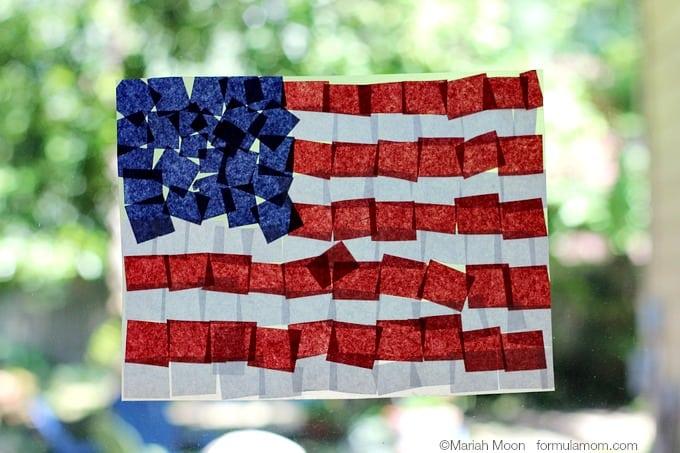 Fourth-of-July-Crafts-Tissue-Paper-Flag-Suncatcher