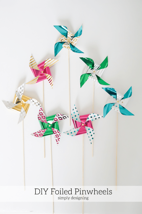 Cute foiled pinwheels that you can make yourself