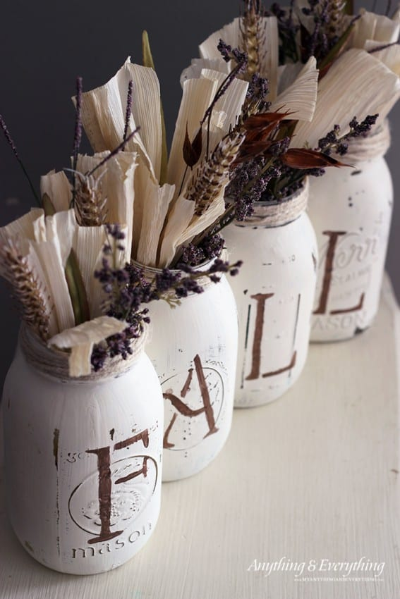 painted-mason-jar-vases-for-fall