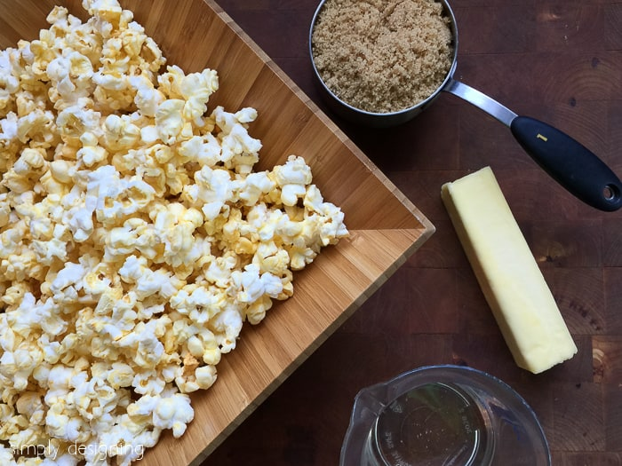 Quick 4-Ingredient Caramel Popcorn - ingredients