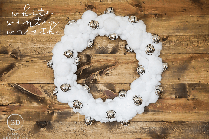 White Winter Pom Pom Wreath