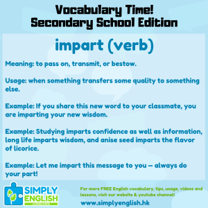 Simply English Learning Centre - Vocabulary Time - Here we go over the word impart.