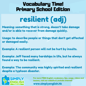 Simply English Learning Centre - Vocabulary Time - Here we go over the word resilient.