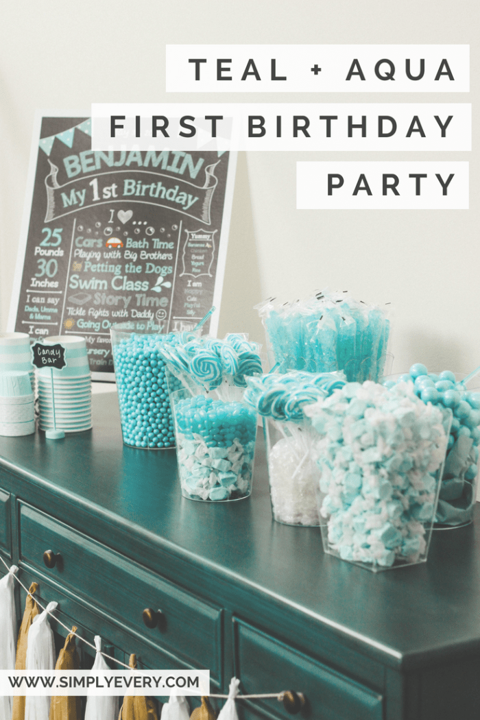 teal aqua first birthday party dohl, candy bar