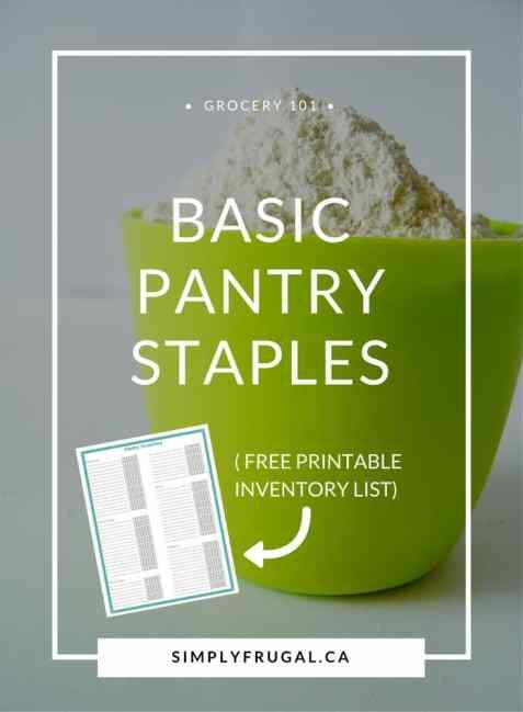 Basic Pantry Staples | free printable inventory list