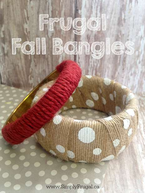 Gather your supplies and give these easy Frugal Fall Bangles a try. They are simple to make and easy to enjoy!