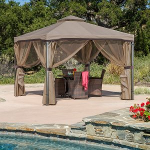 Great Deal Furniture Sonoma Outdoor Iron Gazebo Canopy w/Net Drapery (Light Brown)