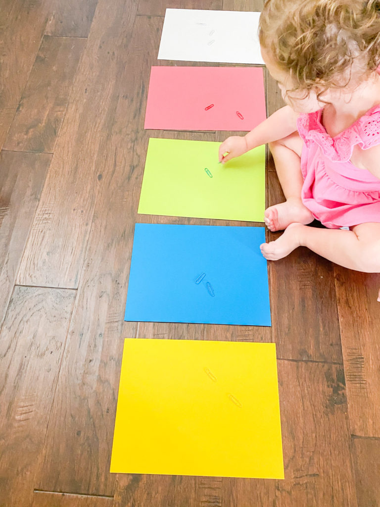 Toddler learning how to match colors