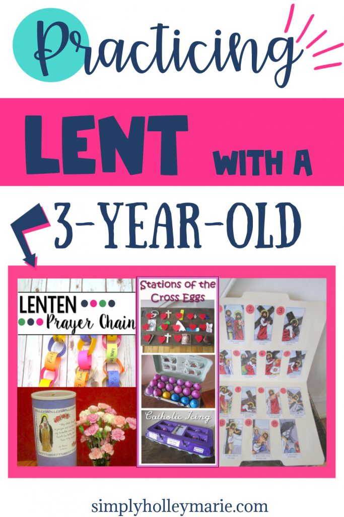 Practicing Lent with a 3-year-old image of lenten prayer chain, stations of the cross eggs, stations of the cross picture folder, and st. Therese sacrifice jar
