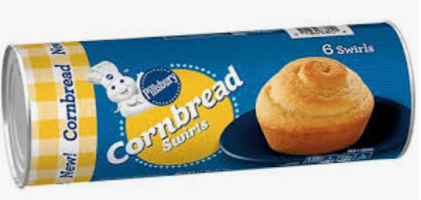Pillsbury cornbread swirls in a can for easy cornbread