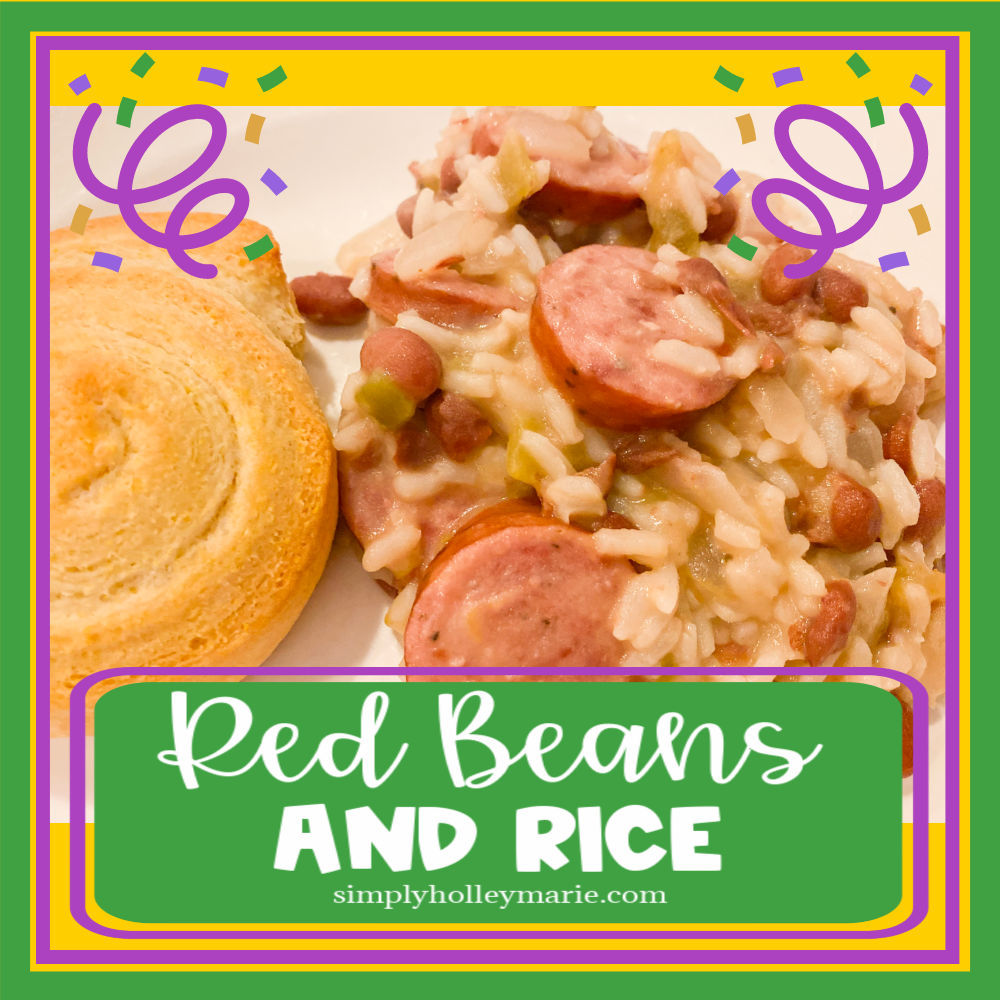 Red Beans and Rice on a dinner plate for Mardi Gras Dinner with a piece of cornbread