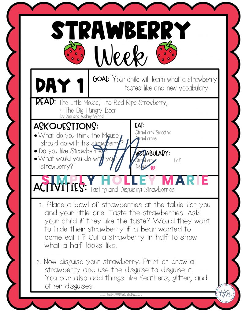 Strawberry Week Preschool Lesson Plans images of plans Day 1 Example of lesson plans