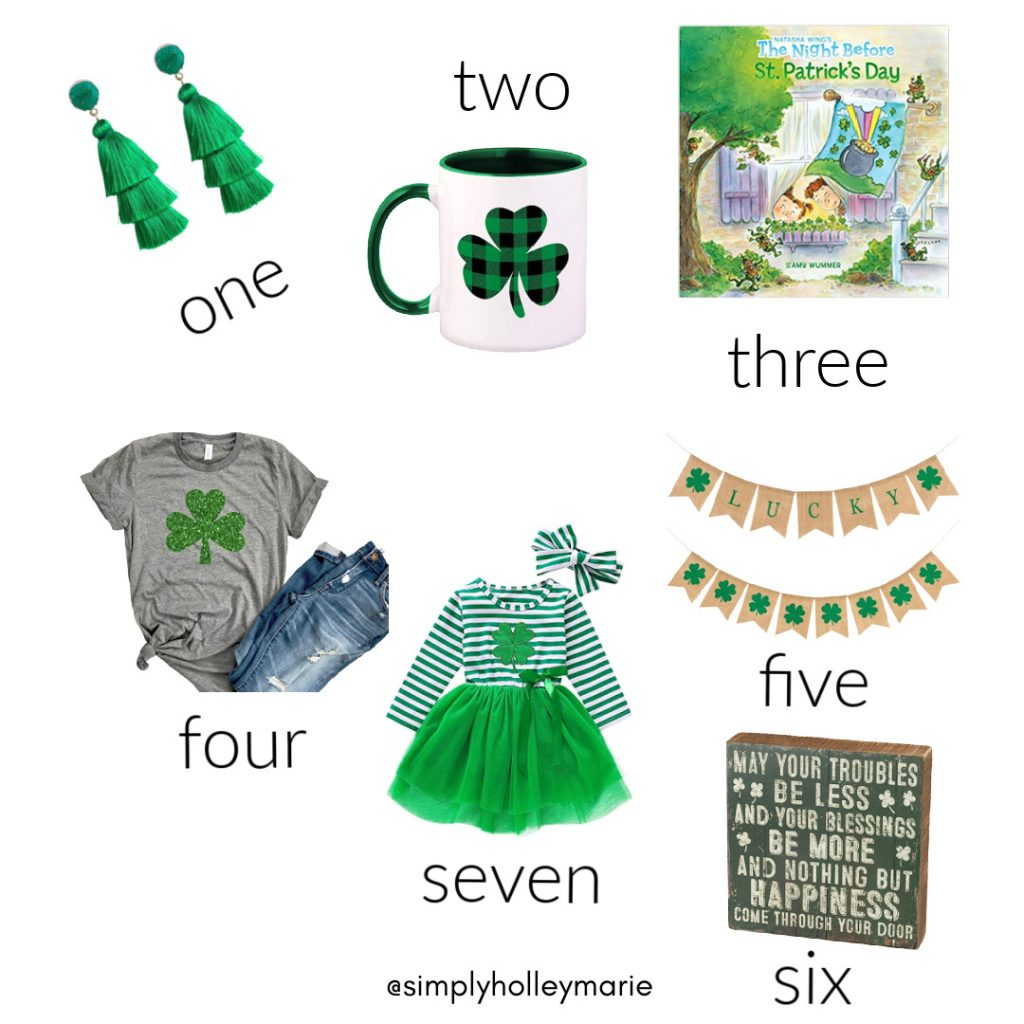 Shirt, dress, banner, sign, coffee mug, earrings, book all for St. Patrick's day.