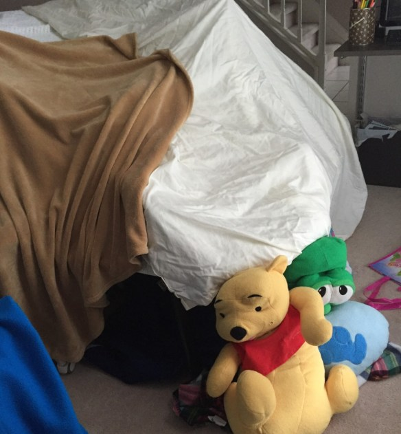 The fort, guarded by Pooh Bear and Larry the Cuke