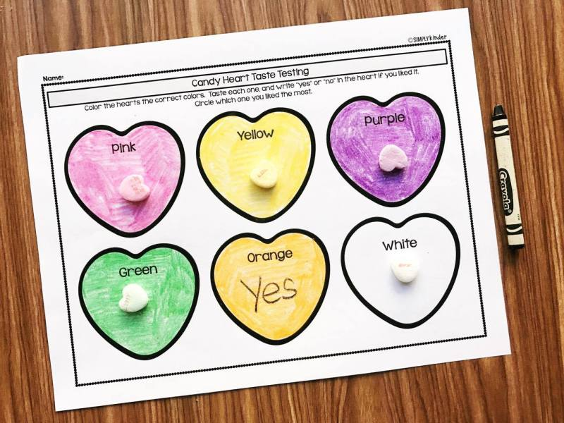 Taste testing different color conversation hearts.  A great Valentine's Day science project for preschool, kindergarten, and first grade.