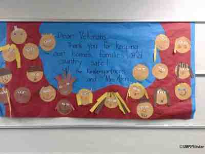Easy Veterans Day Bulletin Board with student self portraits.