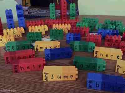 Sight word building blocks. Great center for preschool, kindergarten, and first grade!