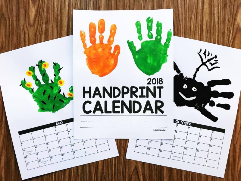 Handprint Calendar from Simply Kinder. This no-fuss calendar will be a perfect gift for your families. It's editable so you can change the calendar year after year and it's one page per month so there is no fumbling with matching the backs of months to the front to get the order right. It's also super simple with no titles or poems so you can easily do your own handprint ideas or use the samples provided.
