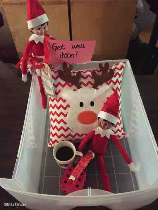 If your elf falls, put him in the elf hospital! A great idea for any classroom elf!
