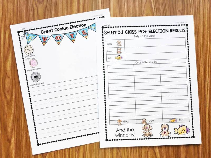Election Day Activities for Kindergarten - Having a mock election and counting up the results.