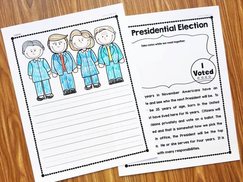 Election Close Read and other activities for Kindergarten and First during the Presidential Election
