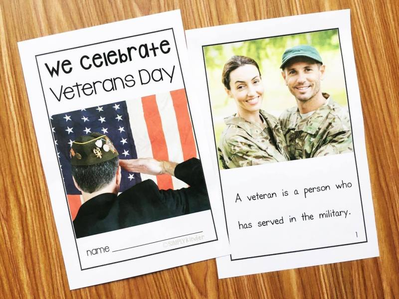Veterans Day Book for preschool, kindergarten, and first grades. Content is appropriate and sentences are super simple.