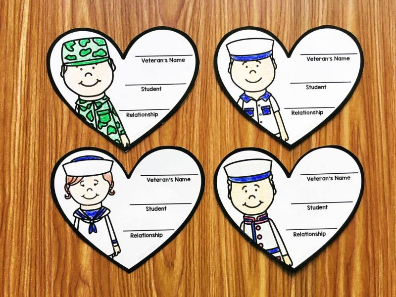 Have your community fill out these free hearts during Veterans Day. They will create a great display of the military connects your students have.