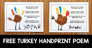 Free Turkey Handprint Poem for Thanksgiving. Great for preschool, kindergarten, and first grades.