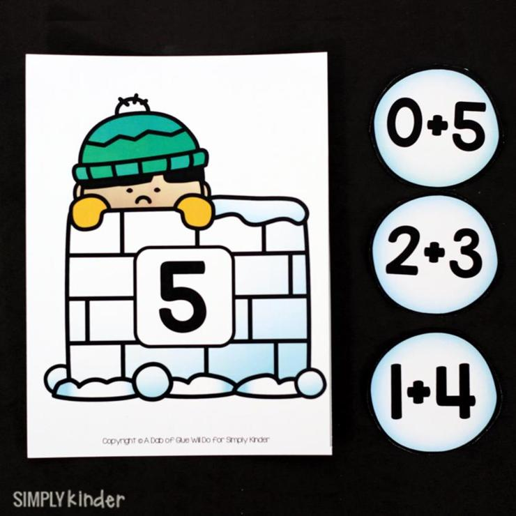 Snowball Addition Game. Perfect for Kindergarten to practice addition facts to 10 during centers.