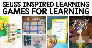 Dr. Seuss Inspired Games for Learning! A roundup of ideas to promote literacy and math skills from Simply Kinder. Great ideas for preschool, kindergarten, and first grade.