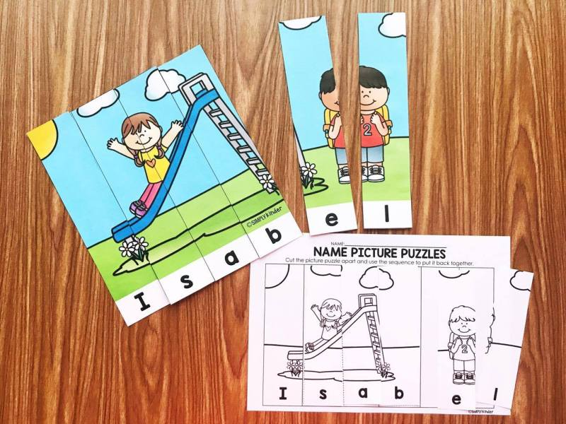 Editable Name Puzzles. Type in your student's name once and get 5 fun puzzles in 3 different formats - full size color centers, black and white centers, and matching cut and glue printable where the names are scrambled! This will help your kiddos learn their names in a fun way! Perfect for kindergarten centers and is a great preschool activity too!