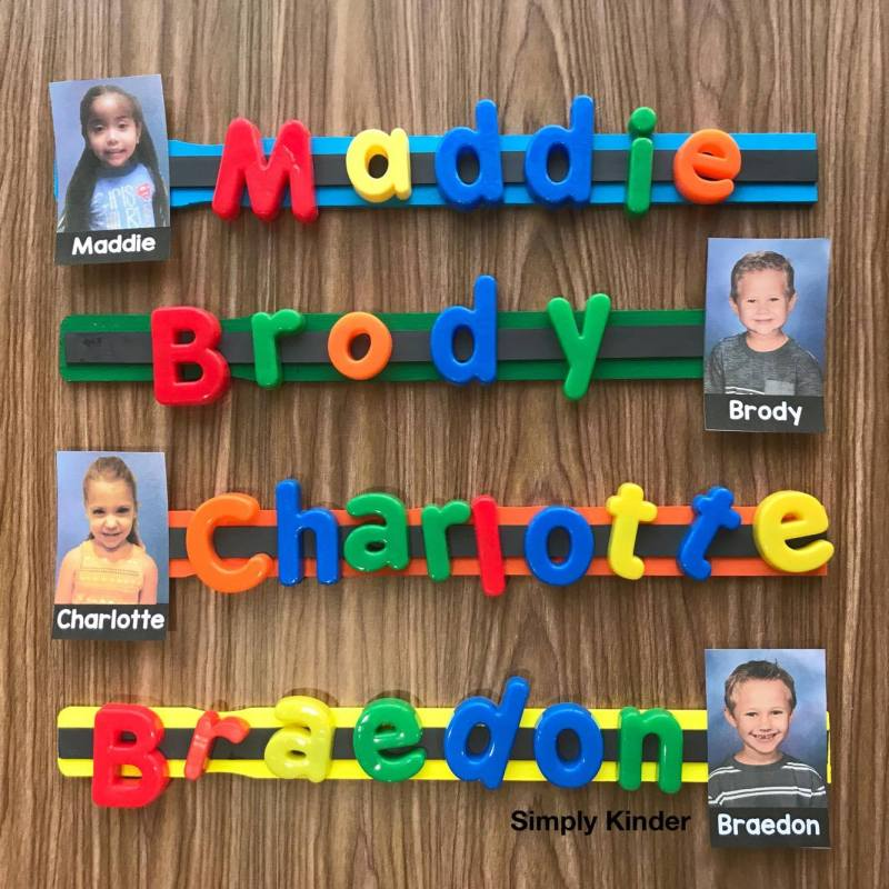 Make this fun paint stick center to practice names!